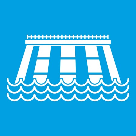 Hydroelectric power station icon white isolated on blue background vector illustration Illustration