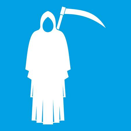 Death with scythe icon white isolated on blue background vector illustration Illustration