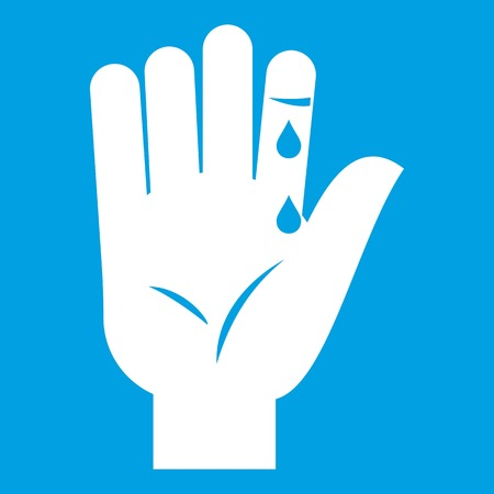 Finger with blood dripping icon white isolated on blue background vector illustration Illustration