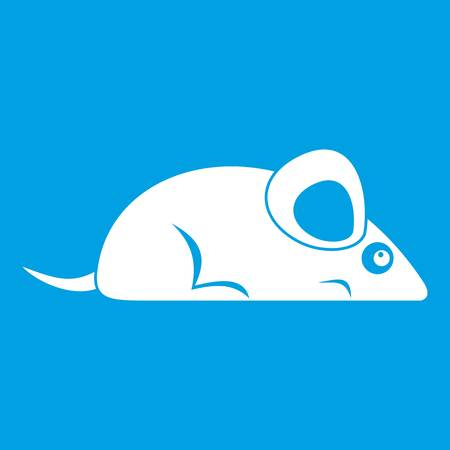 Pet mouse icon white isolated on blue background vector illustration