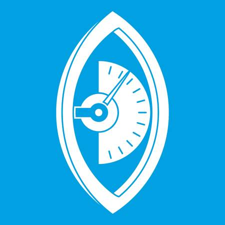 Hand power meter icon white isolated on blue background vector illustration