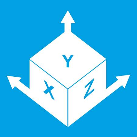 Measurement cube square icon white isolated on blue background vector illustration