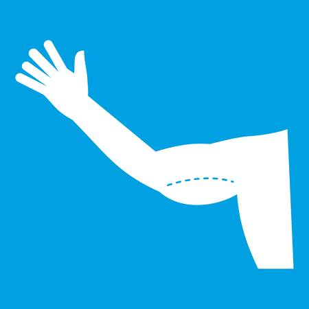 Flabby arm cosmetic correction icon white