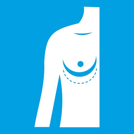 breast implant: Breast implant surgery. icon white Illustration