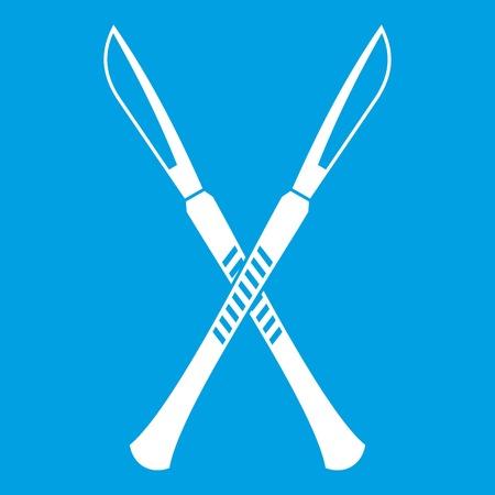 Surgeon scalpels icon white