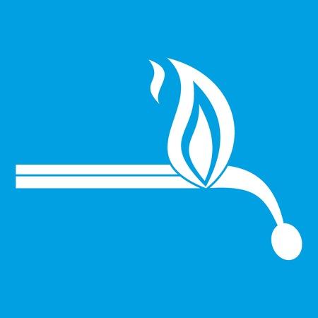 Burning match icon white isolated on blue background vector illustration