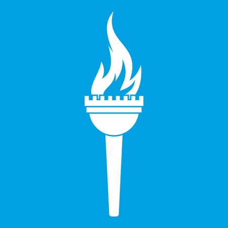 Torch icon white isolated on blue background vector illustration Illustration