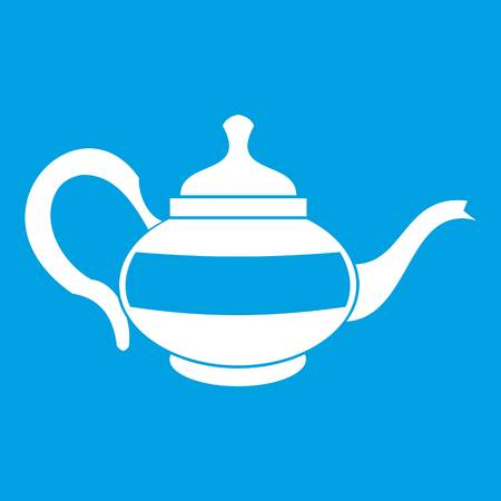 Teapot icon white isolated on blue background vector illustration Illustration