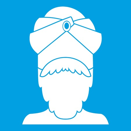 Indian man icon white isolated on blue background vector illustration