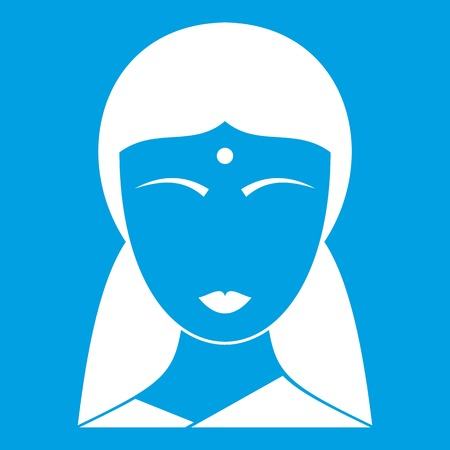 Indian woman icon white isolated on blue background vector illustration Illustration
