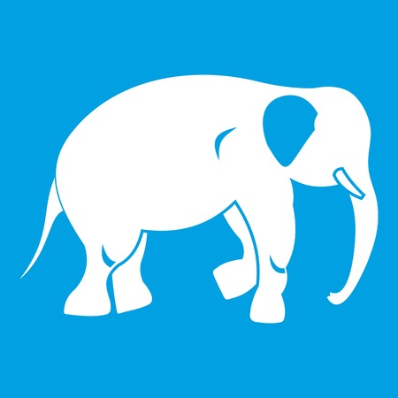 Elephant icon white isolated on blue background vector illustration Ilustração