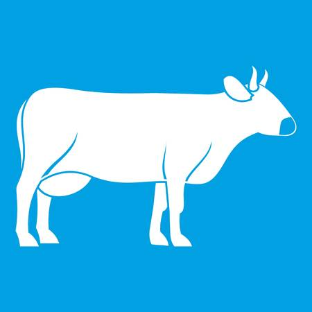 Cow icon white isolated on blue background vector illustration