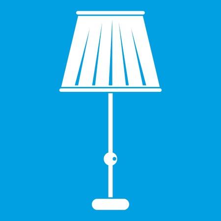 Het wit van het staande lamppictogram op blauwe vectorillustratie wordt geïsoleerd die als achtergrond