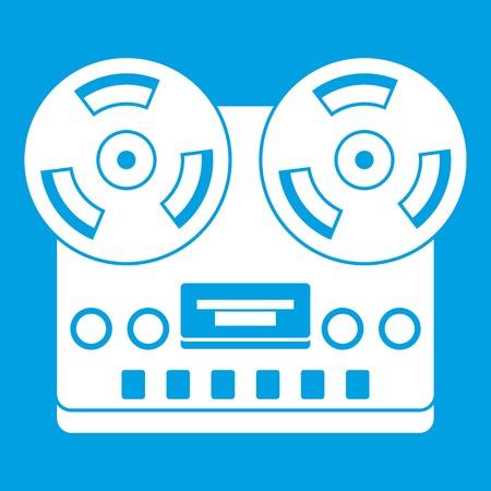 Retro tape recorder icon white