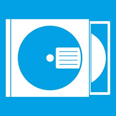 CD box with disc icon white Векторная Иллюстрация