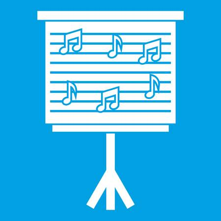 musical score: Whiteboard with music notes icon white
