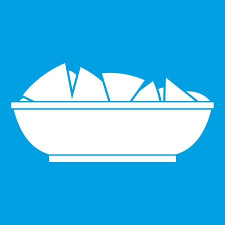 chips and salsa: Nachos in bowl icon white Illustration