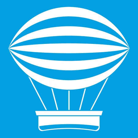 Striped retro hot air balloon icon white Illustration