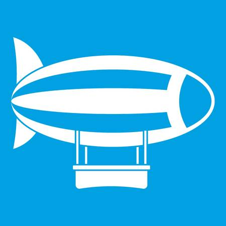 blimp: Striped dirigible icon white Illustration