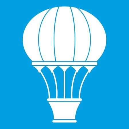 Hot air balloon with basket icon white Illustration