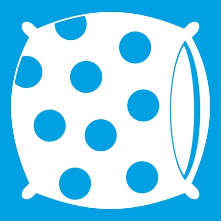Pillow with dots icon white isolated on blue background vector illustration Illustration