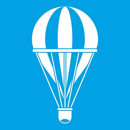 Hot air striped balloon icon white