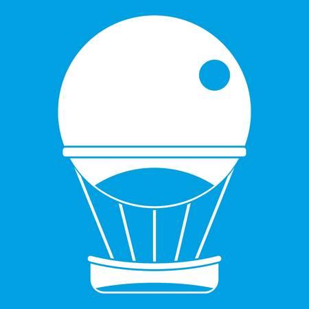 Aerostat balloon icon white isolated on blue background vector illustration