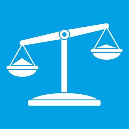 justice scale: Retro scales icon white Illustration