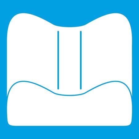 Orthopedic pillow icon white isolated on blue background vector illustration Illustration