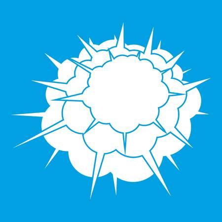 atomic bomb: Atomic explosion icon white Illustration