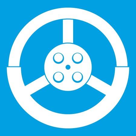 motorizado: Icono del volante blanco Vectores