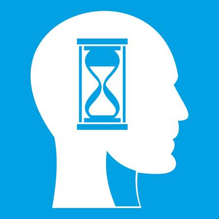 Hourglass in head icon white isolated on blue background vector illustration