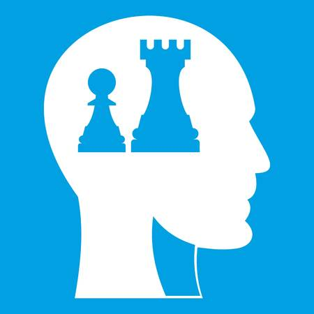 Head with queen and pawn chess icon white isolated on blue background vector illustration Vektoros illusztráció