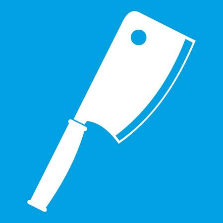 Meat knife icon white isolated on blue background vector illustration