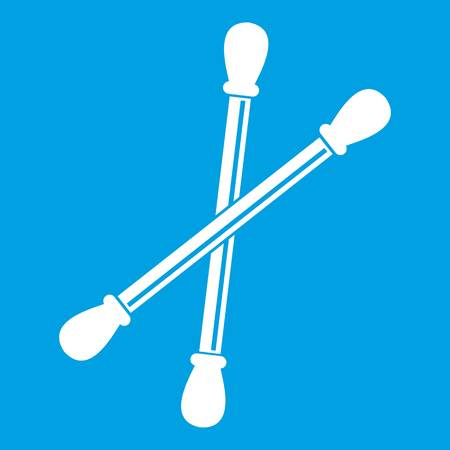 Cotton buds icon white isolated on blue background vector illustration