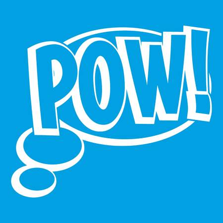 Pow, speech bubble icon white isolated on blue background vector illustration