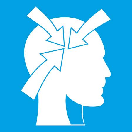 Head with arrows icon white isolated on blue background vector illustration