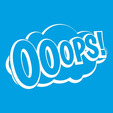 bolt: OOOPS, comic book explosion icon white isolated on blue background vector illustration
