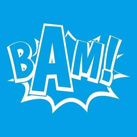 crack: BAM, comic book bubble icon white isolated on blue background vector illustration