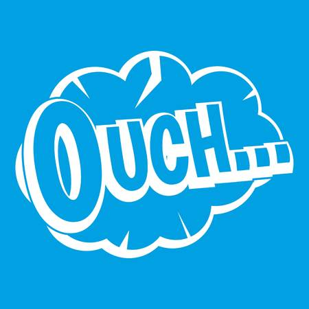 Ouch, speech cloud icon white isolated on blue background vector illustration