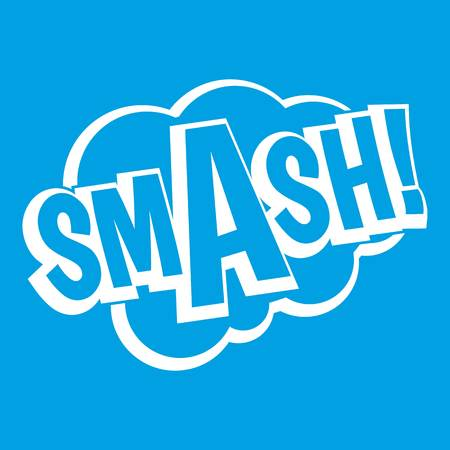 SMASH, comic book bubble text icon white isolated on blue background vector illustration