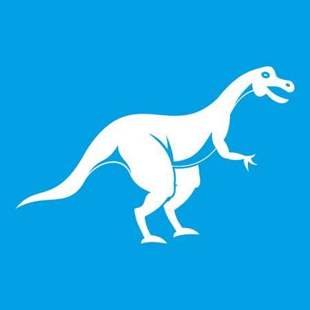 Theropod dinosaur icon white isolated on blue background vector illustration