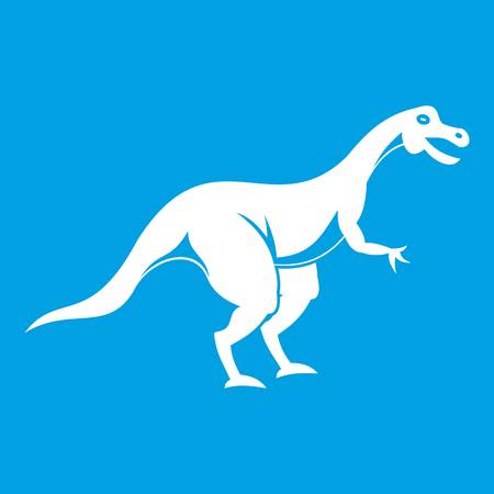 cretaceous: Theropod dinosaur icon white isolated on blue background vector illustration