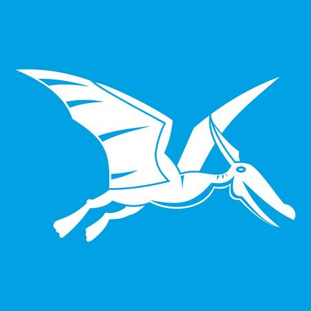 Pterosaurs dinosaur icon white isolated on blue background vector illustration Illustration