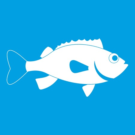 Sea bass fish icon white isolated on blue background vector illustration