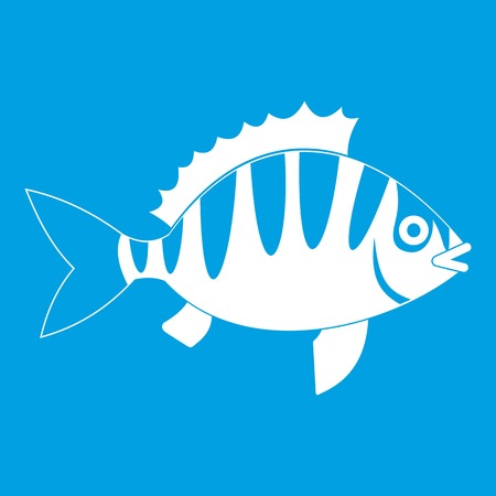 perca: Perch icon white isolated on blue background vector illustration