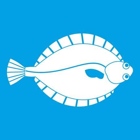 Flounder icon white isolated on blue background vector illustration Illustration