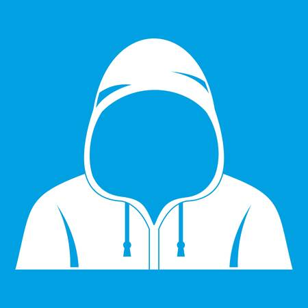 Hood icon white isolated on blue background vector illustration Ilustrace