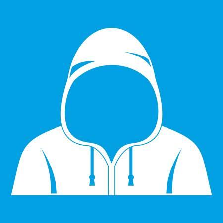 Hood icon white isolated on blue background vector illustration Illustration