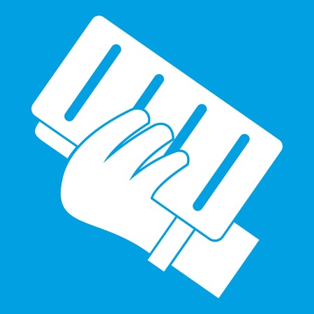 Brick in a hand icon white isolated on blue background vector illustration Ilustração